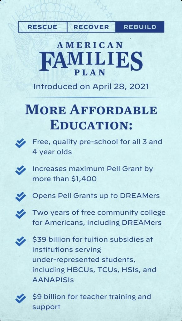 What's in the American families plan: Educational plans from pre-k through community college