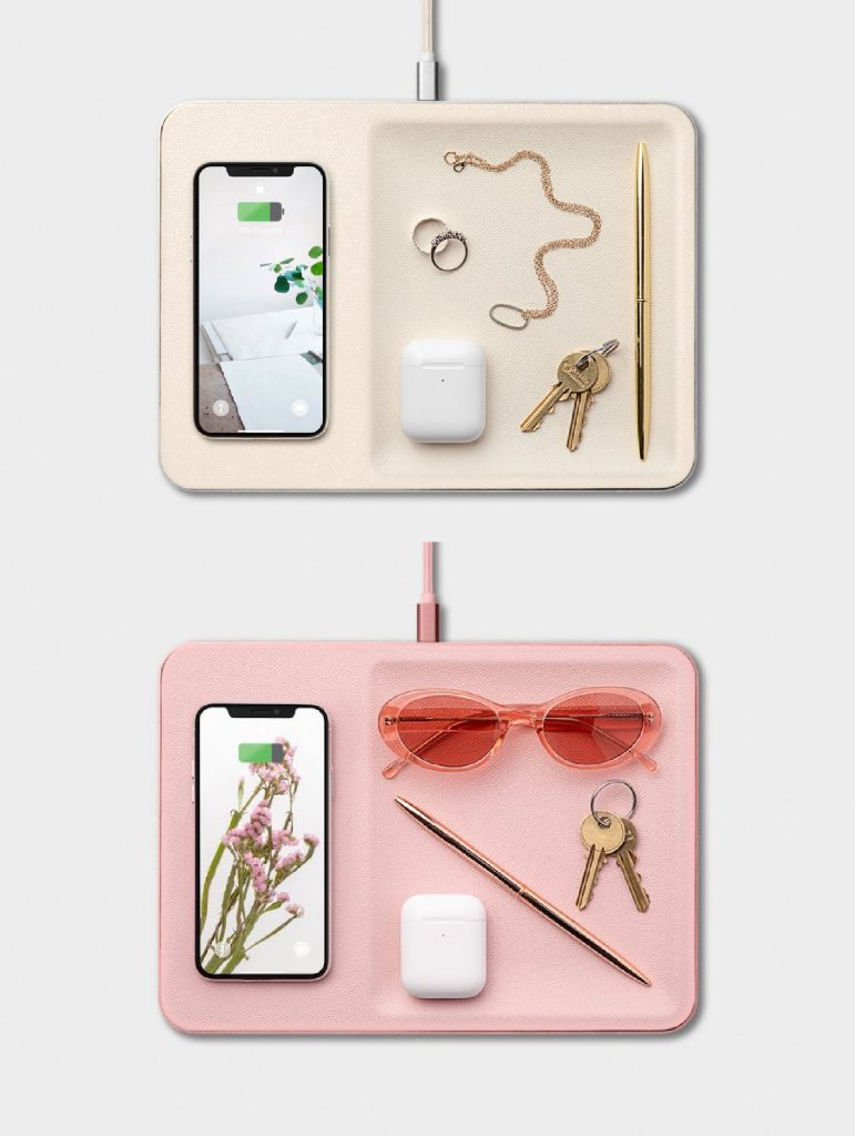Home office gifts for mom: a chic wireless charging station and catch-all for her desk