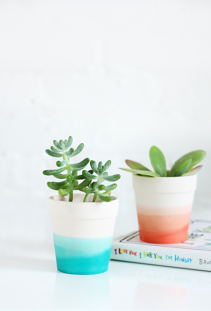 Dip Dye DIY planter tutorial: Sweet Mother's Day gift craft for a home office or nightstand from I Spy DIY