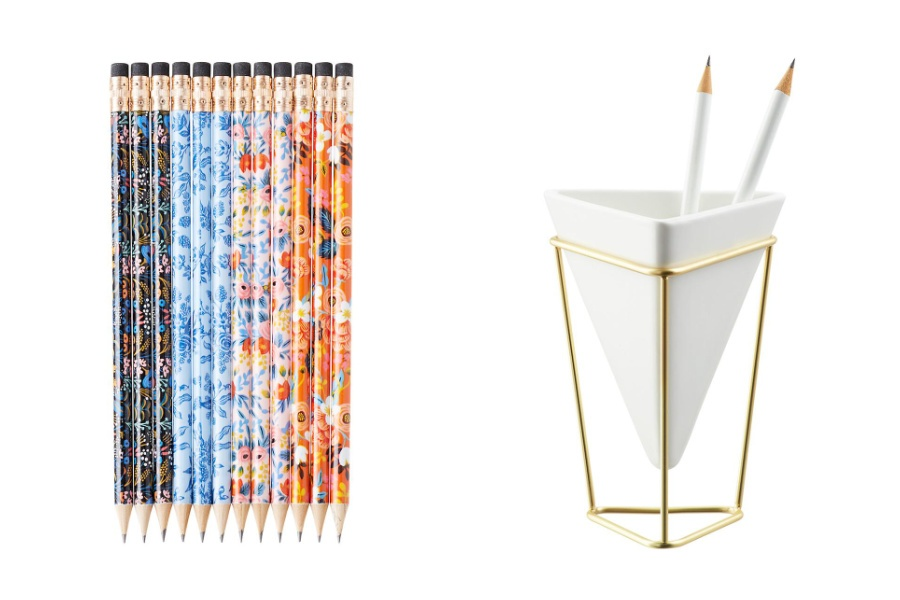 Home office gifts for mom: Rifle Paper Co pencils with a pretty pencil holder