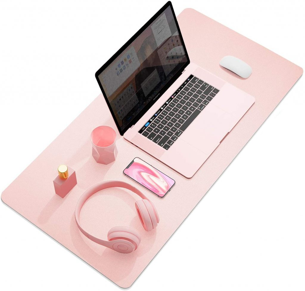 Home office gifts for mom: : waterproof leather desk mat in lots of pretty colors