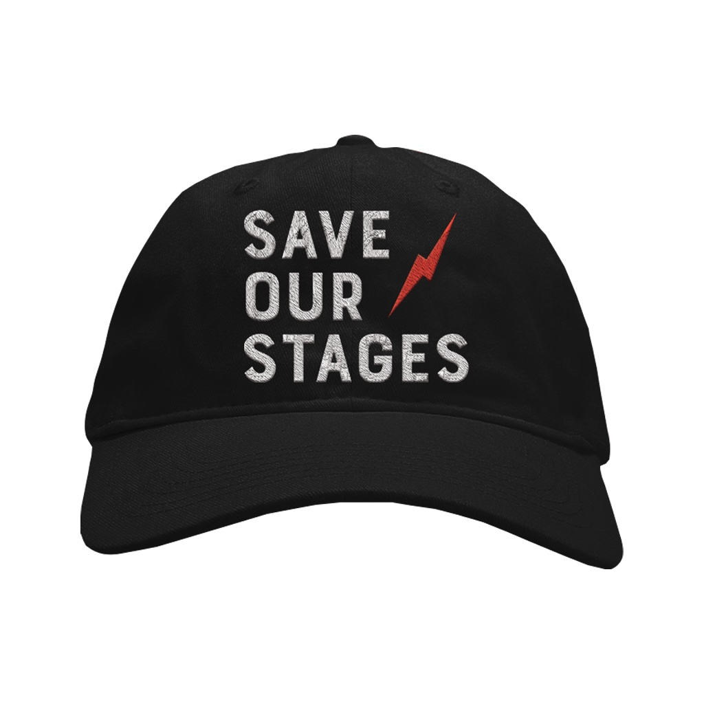 Creative Father's Day gifts: a donation in his name, or a gift supporting a charity important to him. Here: The #saveourstages cap