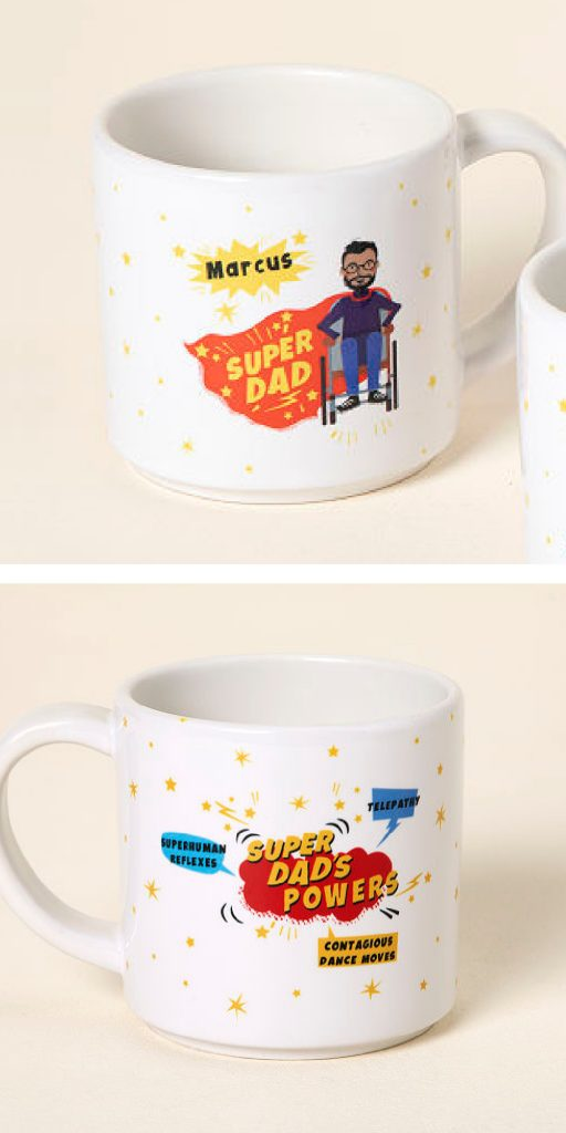 Creative Father's Day Gifts: This custom super dad mug is perfect for hard-to-shop-for dads!