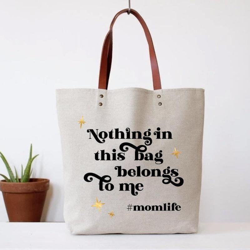 Fashionable beach totes for summer: Hilarious #momlife bag at Nine 16 Tees