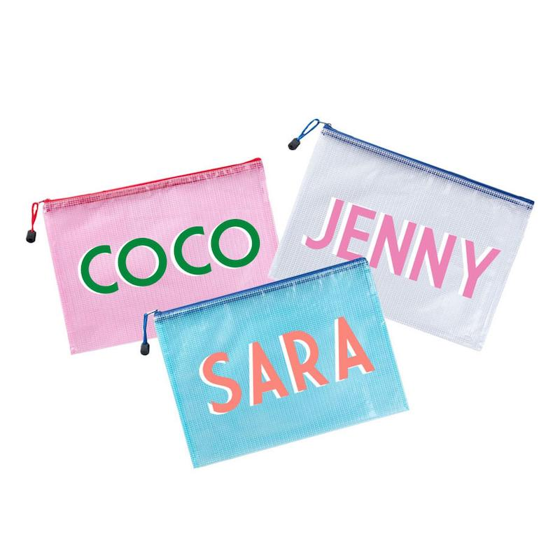 Fashionable beach totes for summer: Small, personalized clutch-sized totes are perfect for teens who can go to the pool on their own.