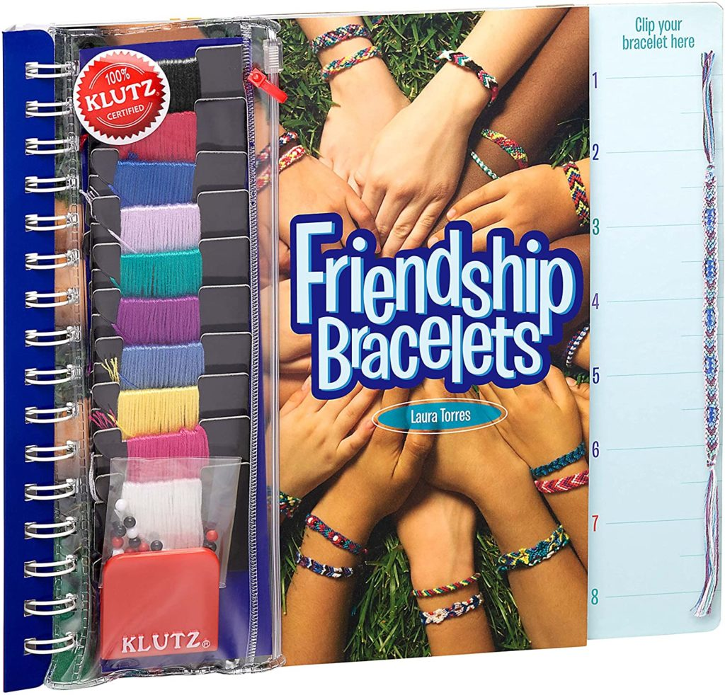 The Klutz friendship bracelet craft kit is a favorite camp care package gift, and now on sale