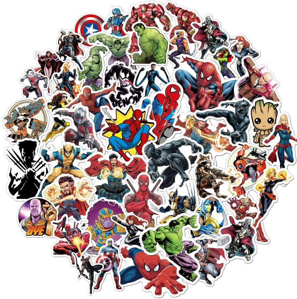 Camp care package ideas for tweens and teens: A big pack of stickers featuring their favorite superheroes