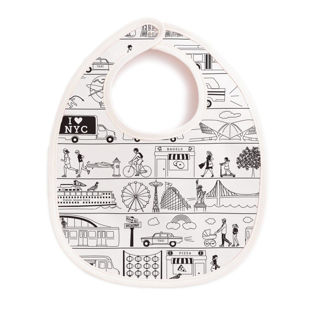 NYC baby gift: Maptote's French Terry NYC baby bib
