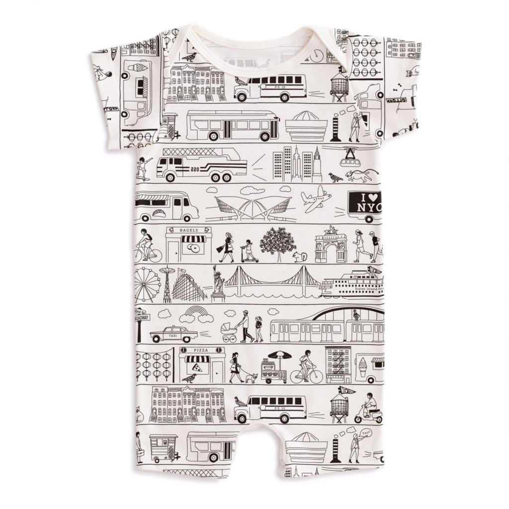 NYC baby gift: Maptote's French Terry NYC baby romper print