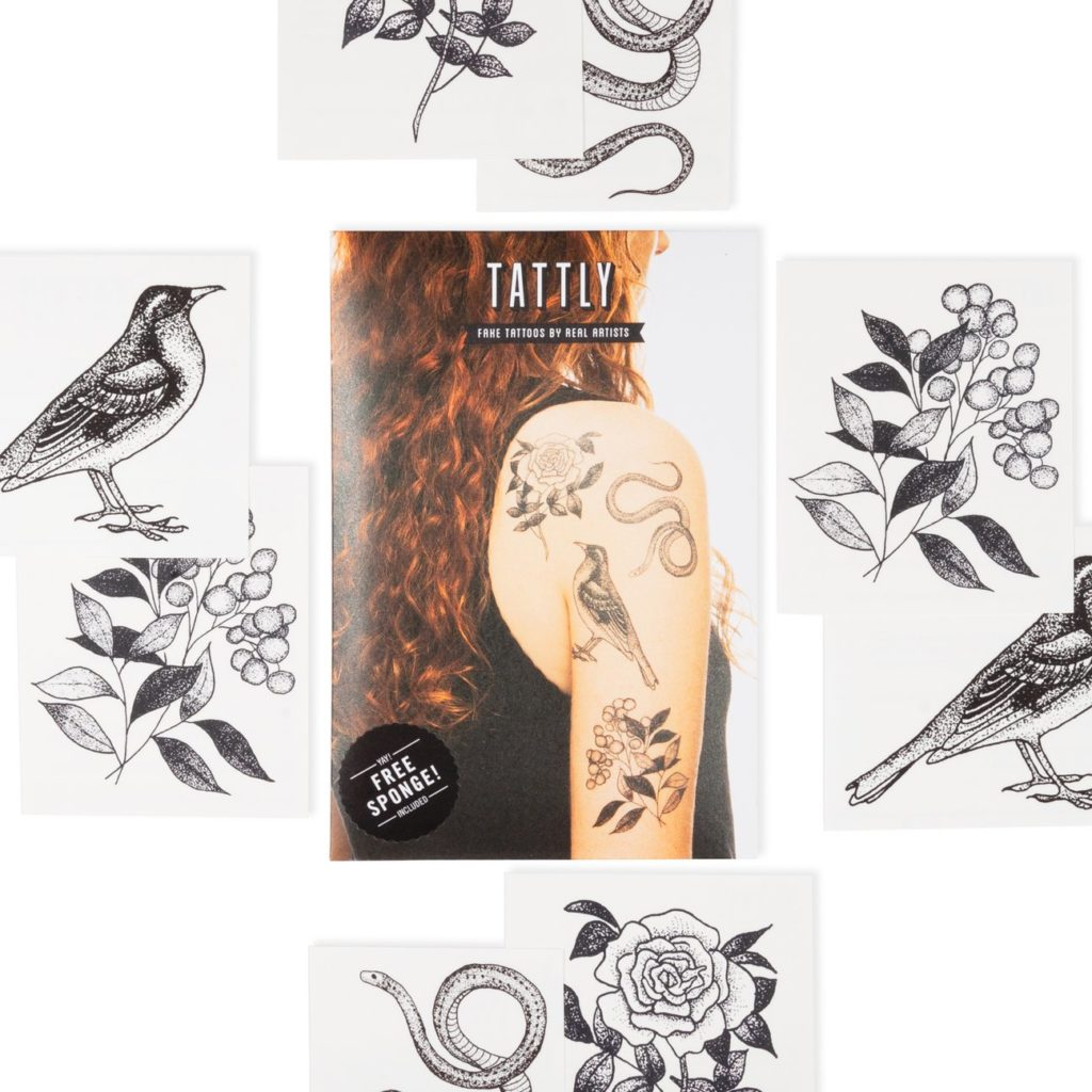 Tattly's flora and fauna temporary tattoo set is designed by a real tattoo artist