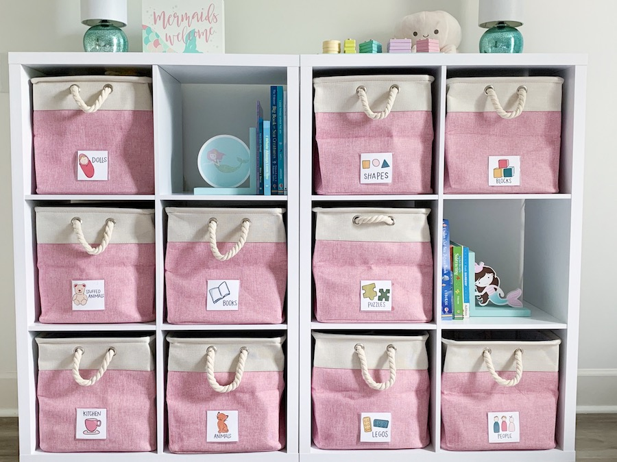 An organization system for Kate's daughter's room makeover for adopted kids by Bloom Family Designs