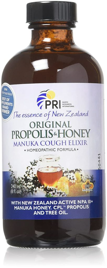 New Zealand's PRI makes a Manuka honey cough elixir that soothes sore throats without artificial stuff or corn syrup