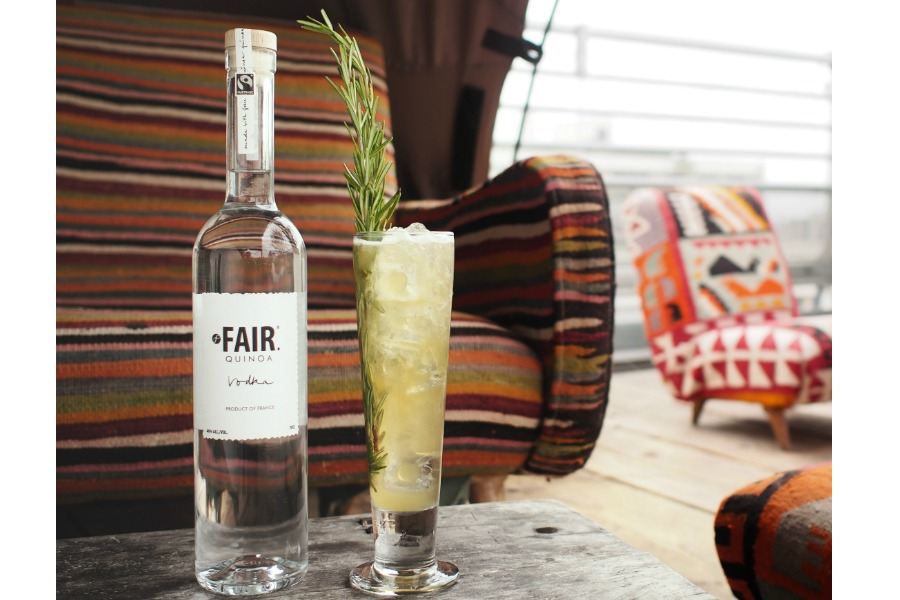 Mix it up from the usual wine hostess gift and try FAIR Quinoa Vodka