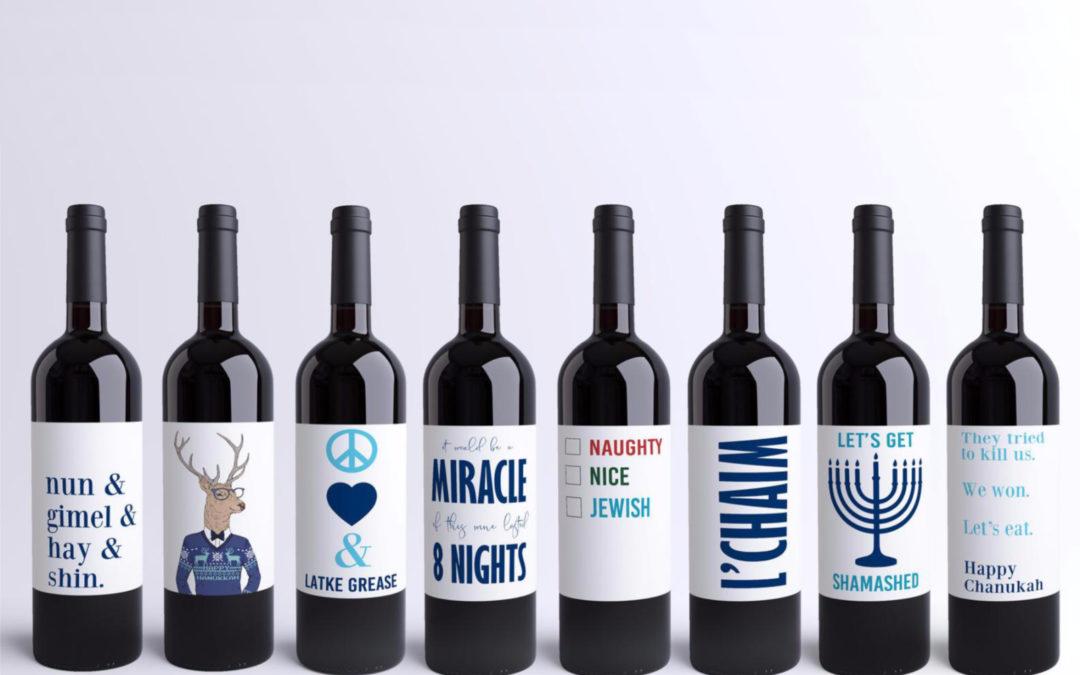 Funny Hanukkah wine labels: No Manischewitz required.