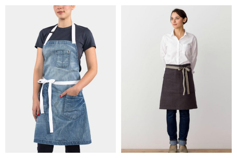 We love these modern aprons! Hey, as long as we're not shopping for cute new spring shoes these days...